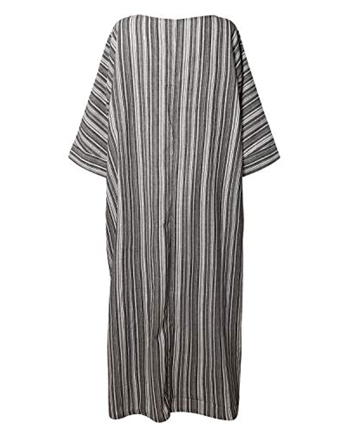 Women Summer Stripe Long Sleeve V-Neck Cotton Linen Plus Size Kaftan Dress S-5XL