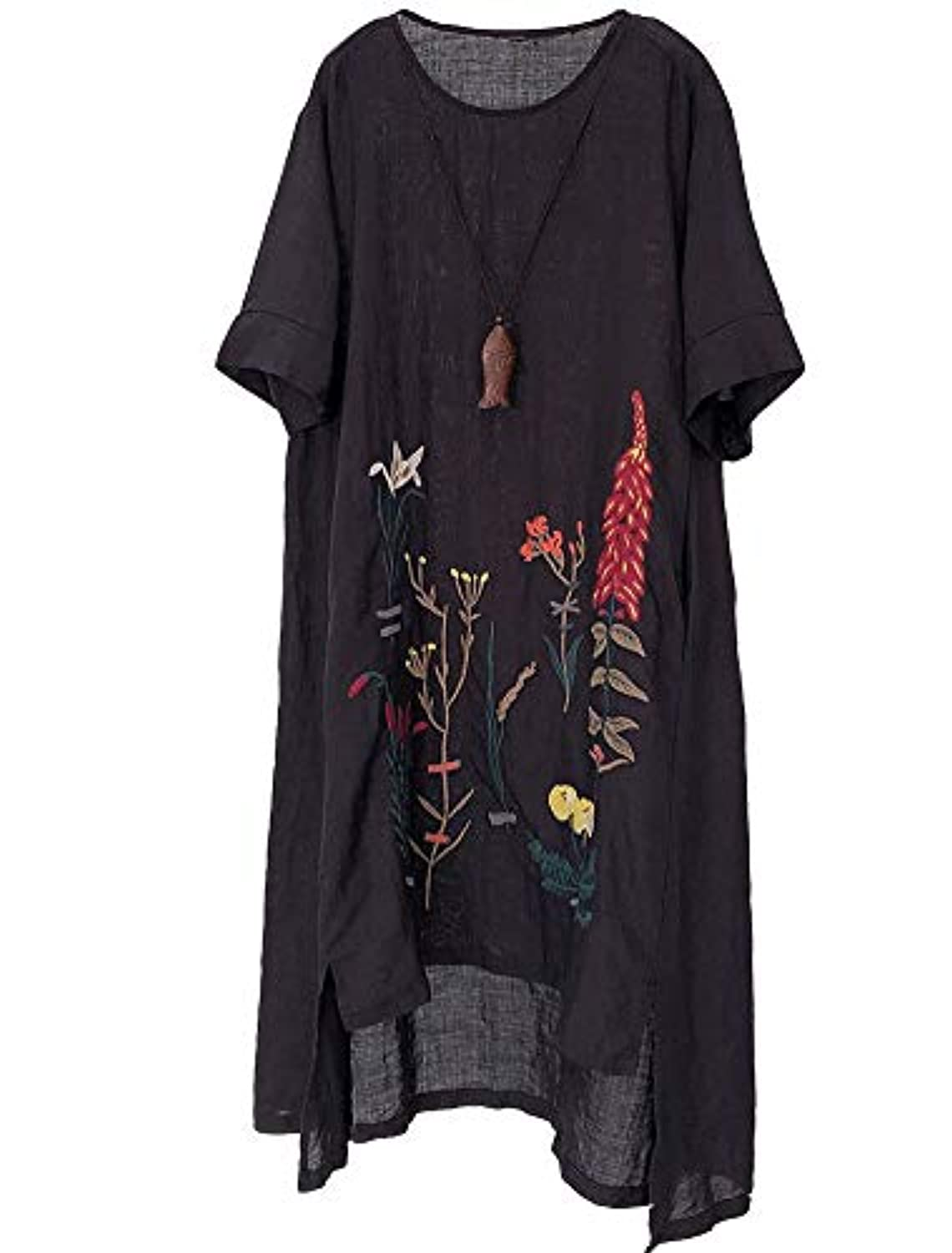 Embroidered Linen Dress Summer A-Line Sundress Hi Low Tunic Clothing