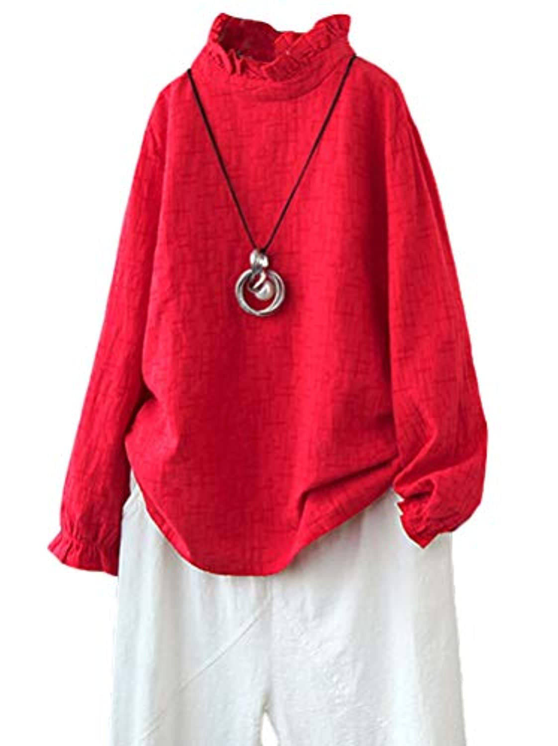 Women's Cotton Tunic Tops Textured Shirt Turtleneck Long Sleeve Cowl Neck Blouse