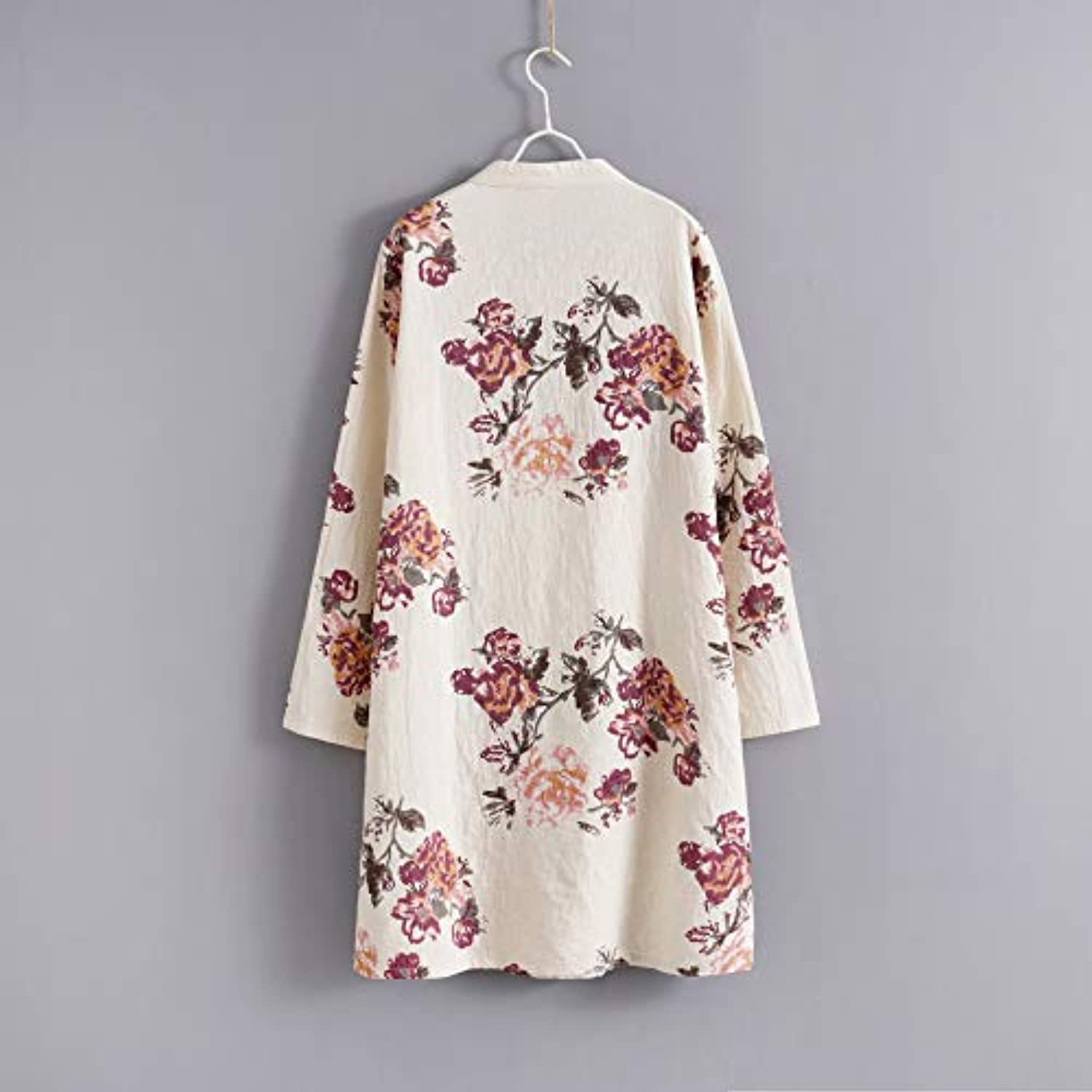 Women's Linen Dress Long Sleeve Retro Tunic Dresses Ethnic Floral Print Clothing