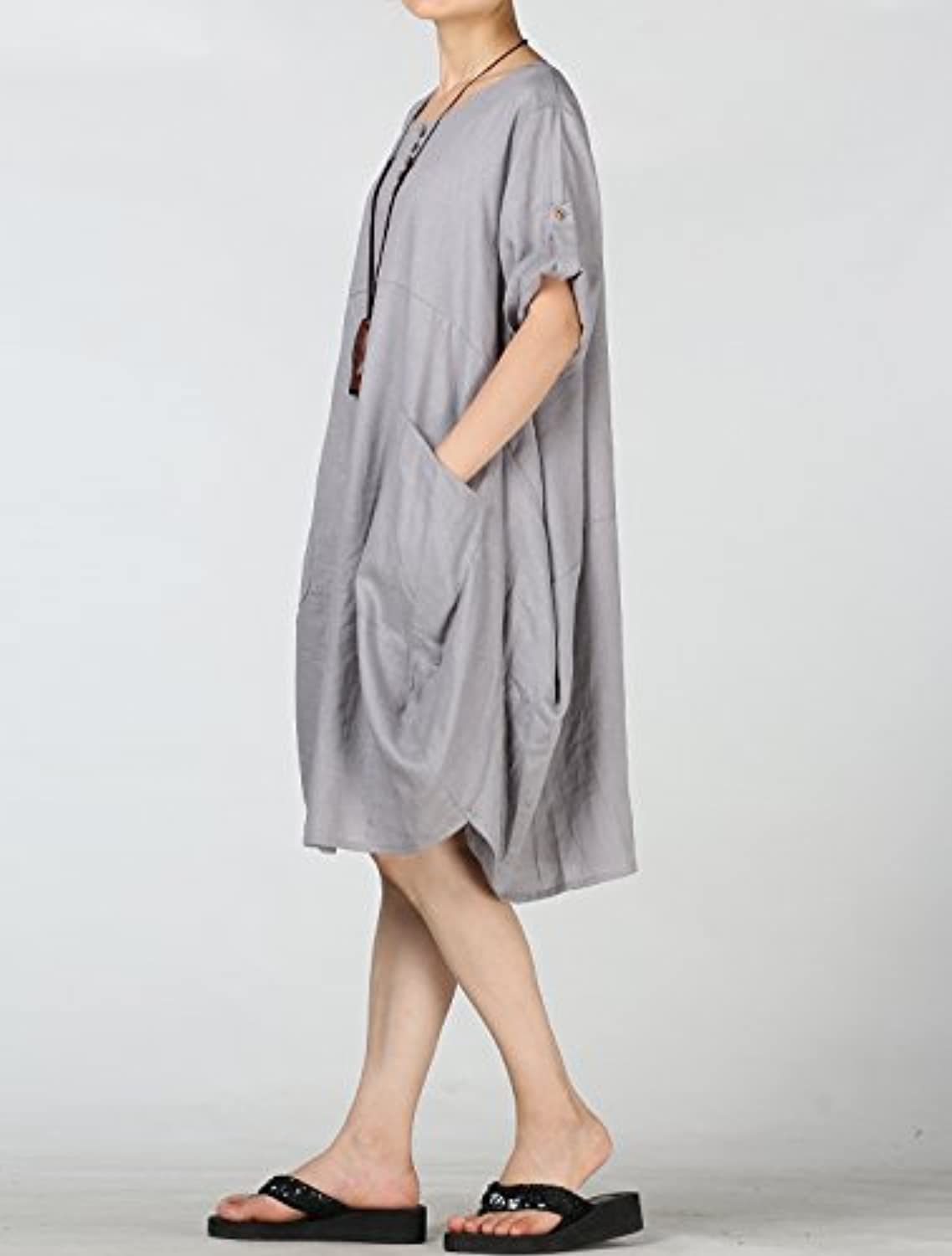 Women's Cotton Linen Dresses Plus Size Summer Roll-up Sleeve Baggy Sundress with Pockets