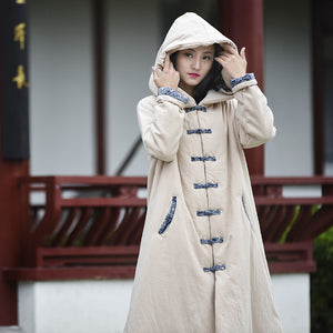 Open image in slideshow, Li Ziqi Winter Cotton and Linen Warm Wrinkled Cloth Coat