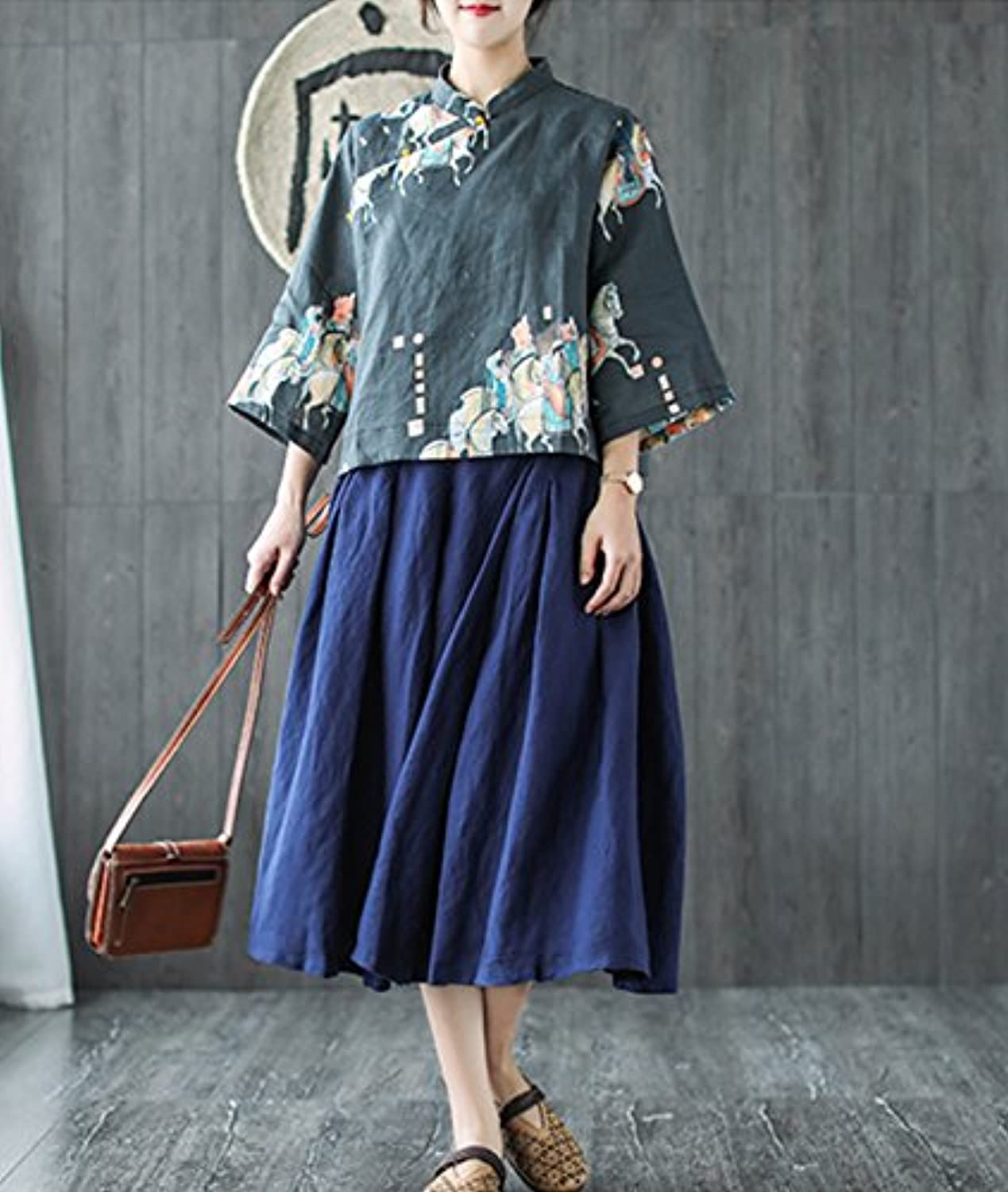 Casual Retro Floral Blouse Shirts Cropped Tops 100% Linen Chinese Qipao Frogs Side Split 3/4 Sleeve