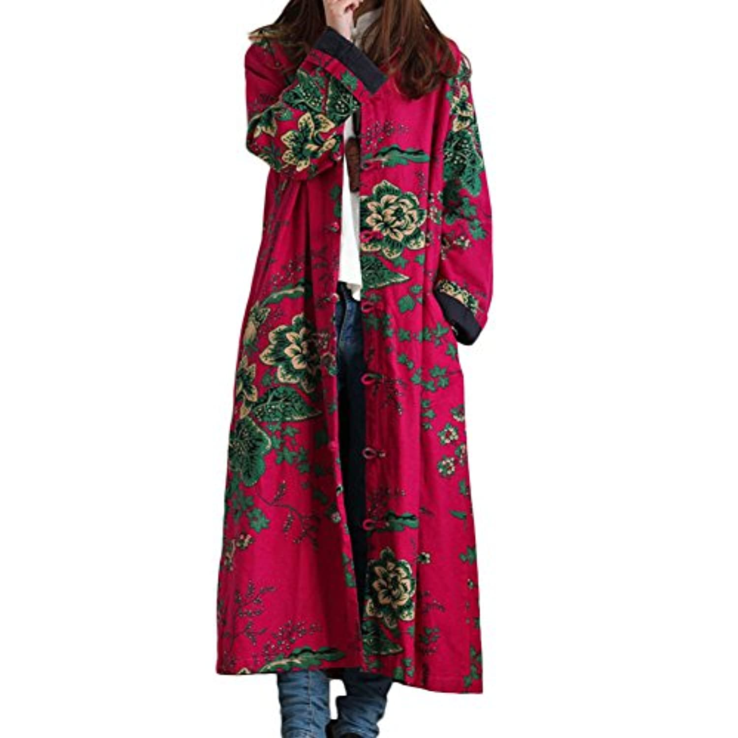 Women's Cotton Linen Trench Coat Floral Print Long Jacket with Pockets
