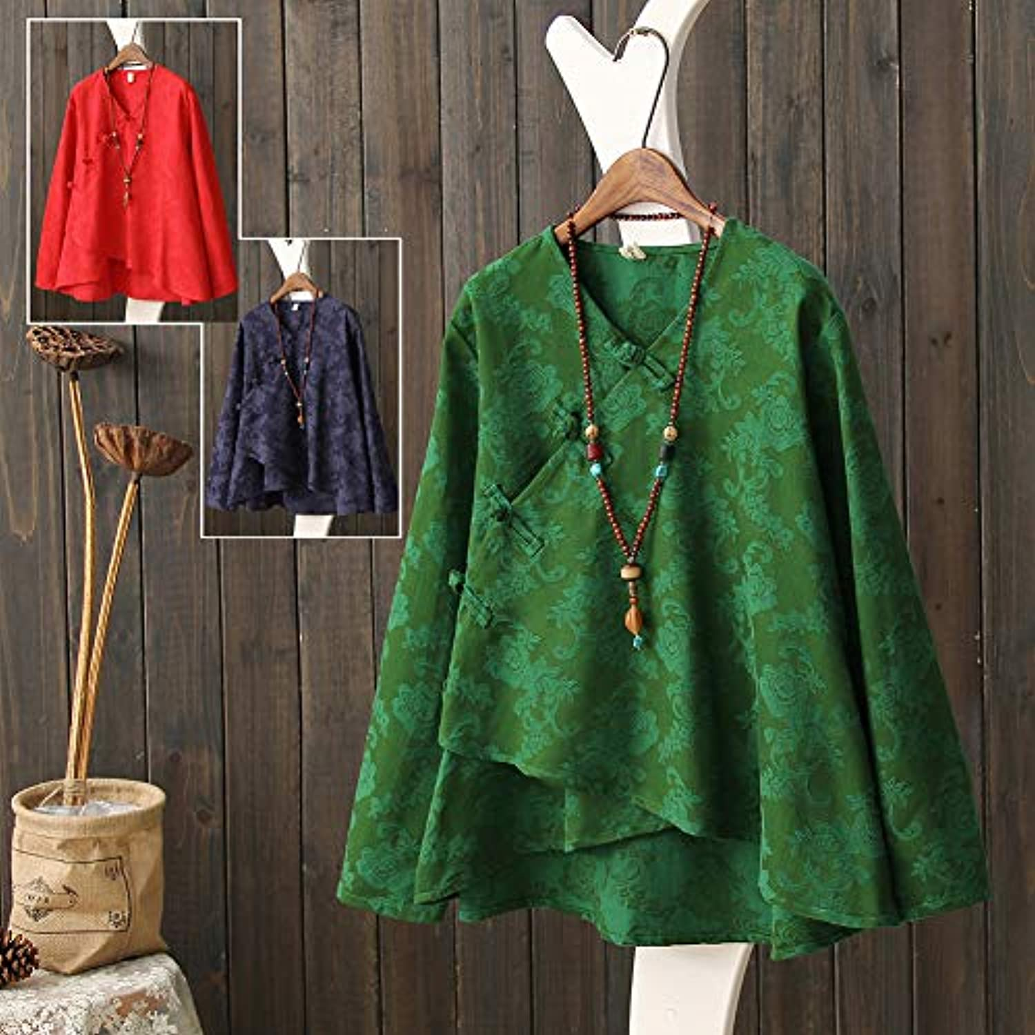 Women's Long Sleeve Linen Retro Chinese Frog Button Tops Blouse