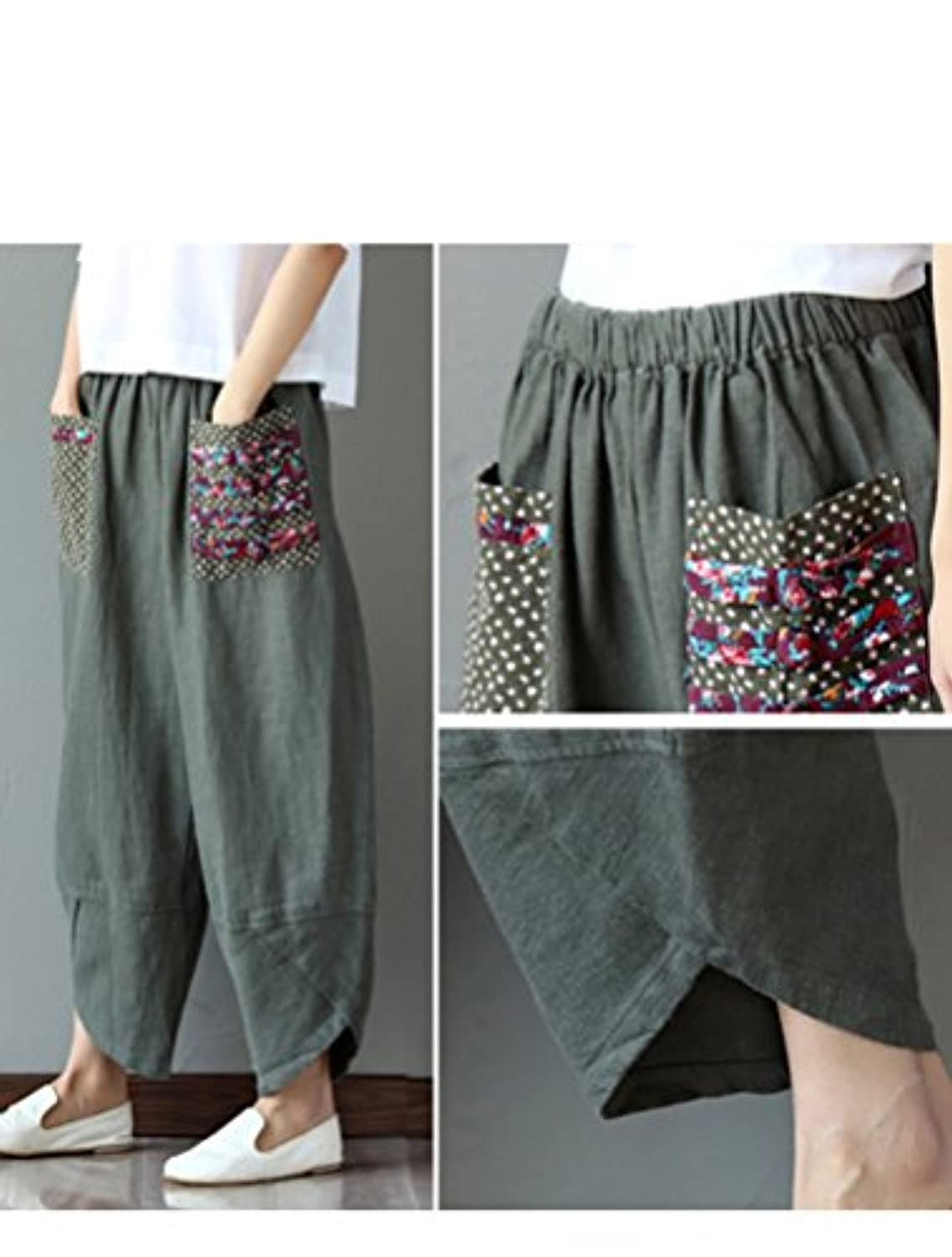 Women's Baggy Linen Wide Leg Trousers Casual Patchwork