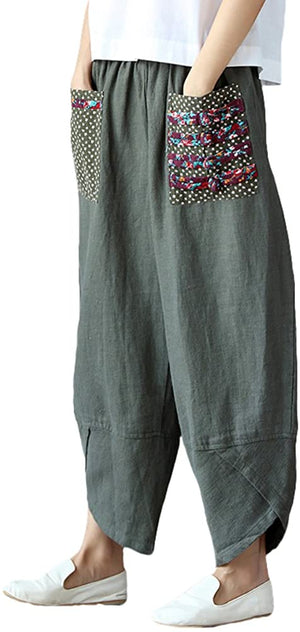 Open image in slideshow, Women's Baggy Linen Wide Leg Trousers Casual Patchwork