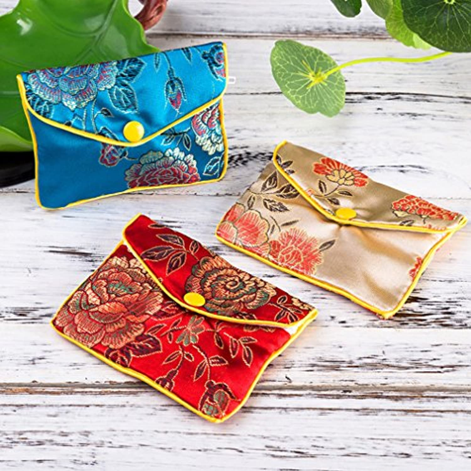 Jewelry Silk Purse Pouch Gift Bags, Multiple Colors, Pack of 12 (Small)