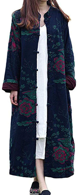 Open image in slideshow, Women's Cotton Linen Trench Coat Floral Print Long Jacket with Pockets