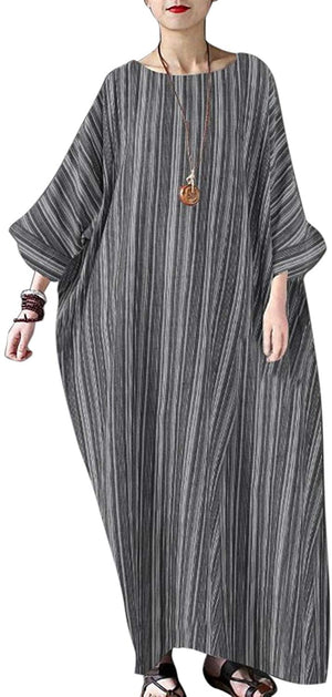 Open image in slideshow, Women Summer Stripe Long Sleeve V-Neck Cotton Linen Plus Size Kaftan Dress S-5XL