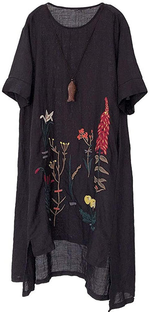 Open image in slideshow, Embroidered Linen Dress Summer A-Line Sundress Hi Low Tunic Clothing