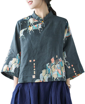 Open image in slideshow, Casual Retro Floral Blouse Shirts Cropped Tops 100% Linen Chinese Qipao Frogs Side Split 3/4 Sleeve