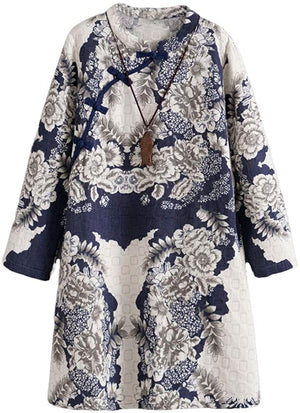 Open image in slideshow, Women's Linen Dress Long Sleeve Retro Tunic Dresses Ethnic Floral Print Clothing