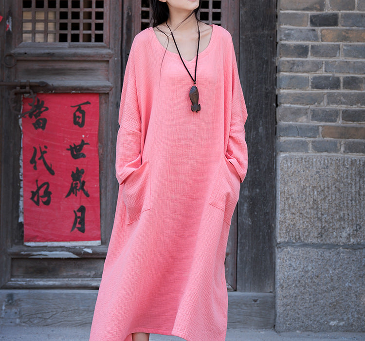 Cotton and linen autumn national style double Zou women's long-sleeved loose dress robe