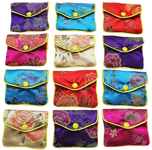 Open image in slideshow, Jewelry Silk Purse Pouch Gift Bags, Multiple Colors, Pack of 12 (Small)