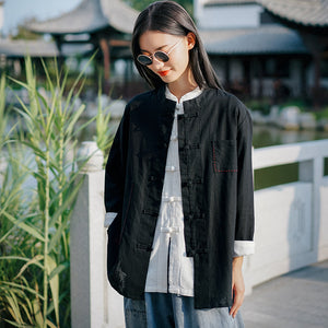 Open image in slideshow, Li Ziqi Cotton and Linen Chinese Style Disc Button Stand-up Collar Shirt