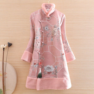 Open image in slideshow, Autumn And Winter Women Qipao Parka Outerwear