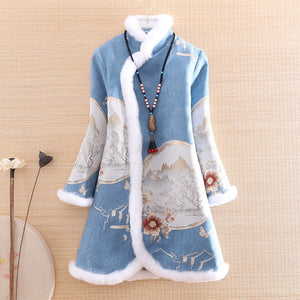 Floral Elegant Loose Lady Warm Trench Coat S-XXL
