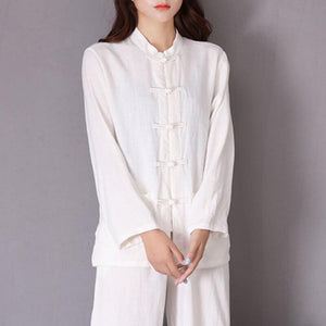 Open image in slideshow, Li Ziqi Fairy Style Loose Linen White Unisex Tops Shirt