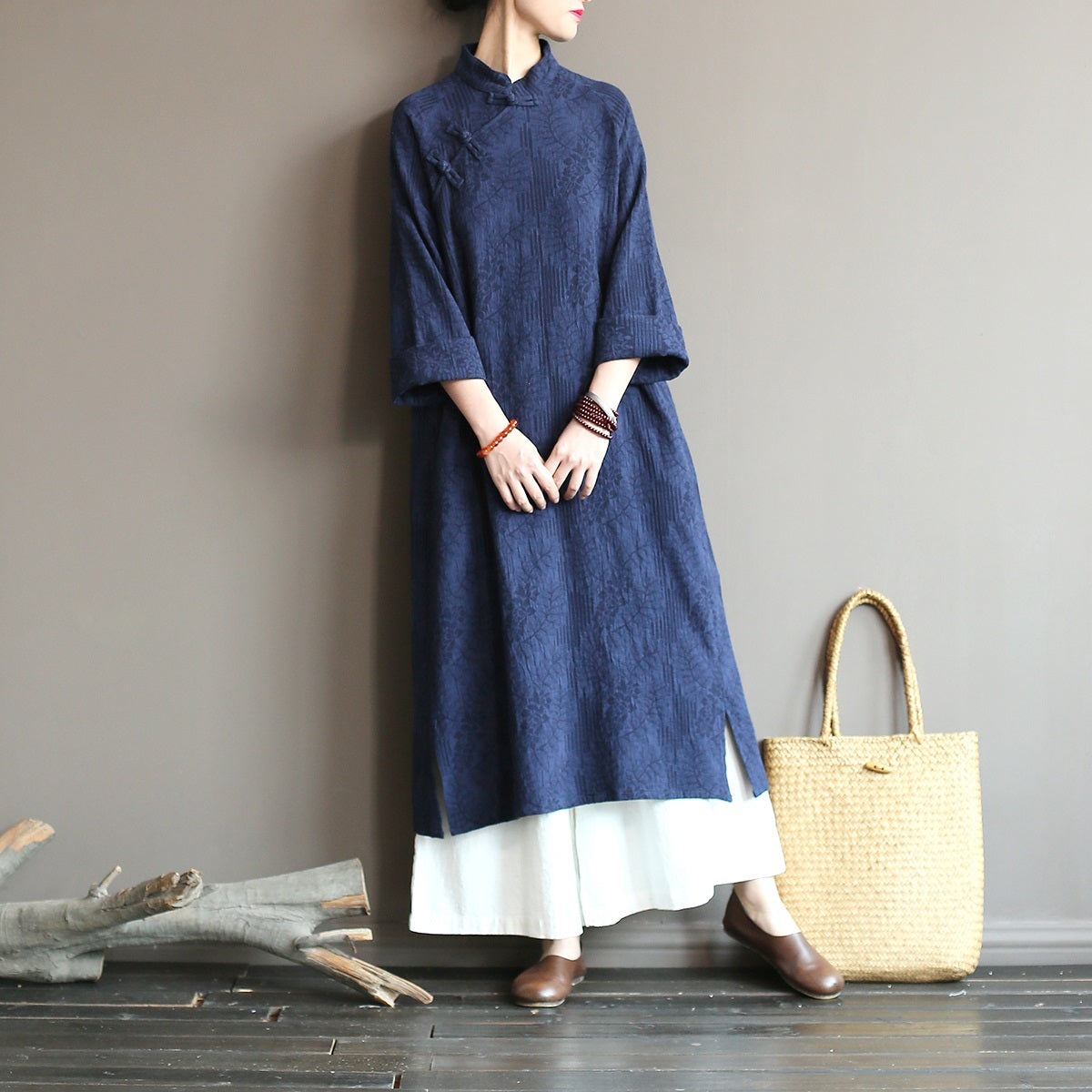 Ethnic style women's spring and autumn loose cotton and linen dress