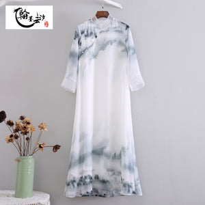 Open image in slideshow, Oriental Style with Ink Print Long Dress