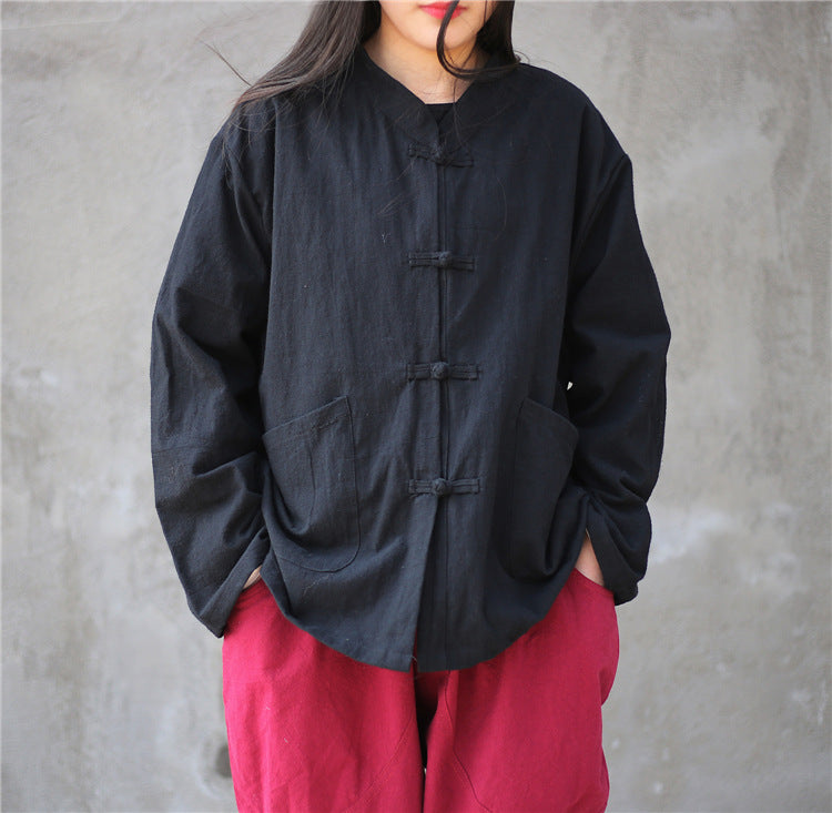 Chinese Style Linen Shirt with Buttons