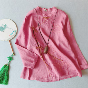 Open image in slideshow, Chinese style disc button literary retro cotton and linen embroidered shirt