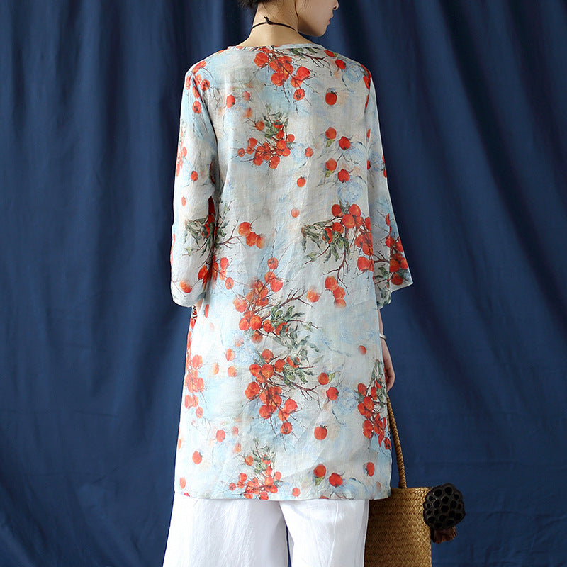 Cotton and linen blouse Chinese ethnic style women's spring and autumn