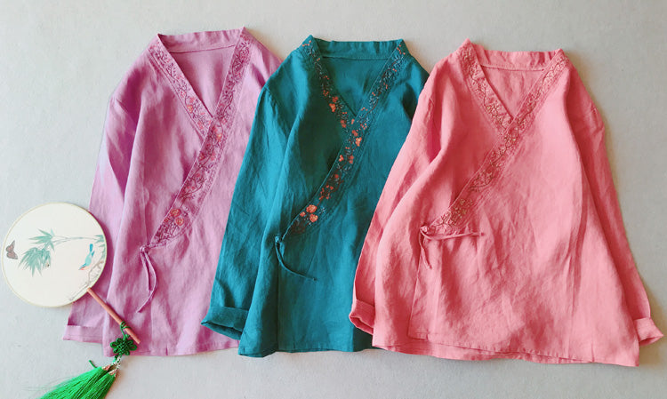 Spring national style embroidered long-sleeved Hanfu small cardigan Chinese tea service shirt
