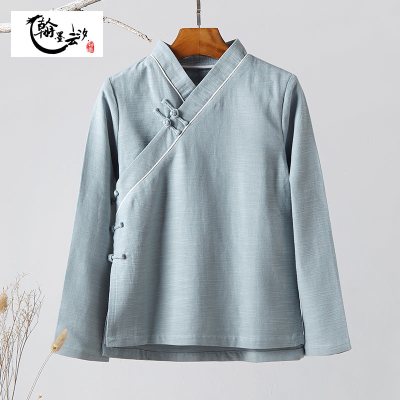 Chinese Style Women's Disc Button Cotton and Linen Blouse