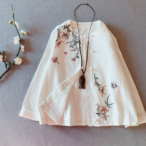 Open image in slideshow, Spring long-sleeved outer embroidered cardigan short thin coat