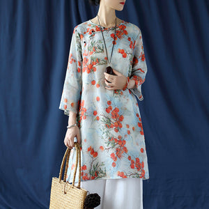 Open image in slideshow, Cotton and linen blouse Chinese ethnic style women's spring and autumn