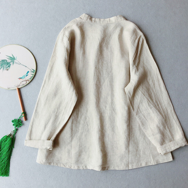 Chinese style disc button literary retro cotton and linen embroidered shirt
