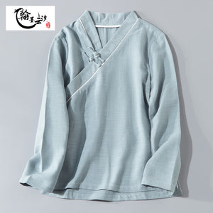 Open image in slideshow, Chinese Style Women's Disc Button Cotton and Linen Blouse