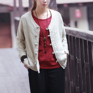 Open image in slideshow, Chinese Style Cotton and Linen Long-Sleeved Jacket