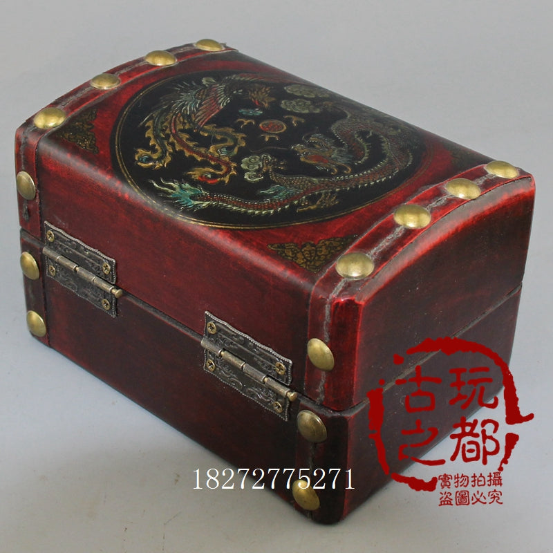 antique retro wooden storage box leather box packaging box dragon and phoenix jewelry box