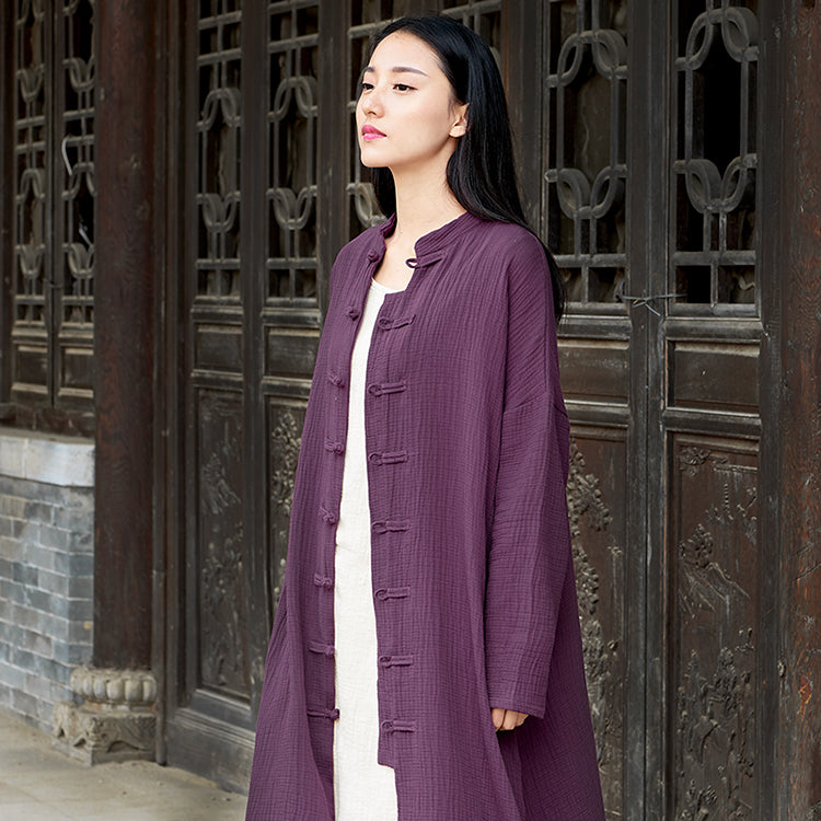 Cotton and Linen Long-sleeved Cardigan Jacket Chinese Tang Suit