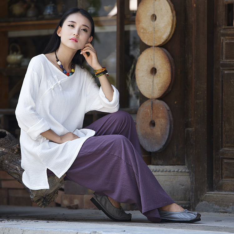 Retro Style cotton and Linen Tang Dynasty Suit