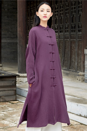 Open image in slideshow, Cotton and Linen Long-sleeved Cardigan Jacket Chinese Tang Suit