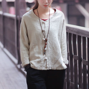 Chinese Style Cotton and Linen Long-Sleeved Jacket