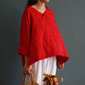 Open image in slideshow, Chinese Style Long-sleeved V-Neck Loose Cotton and Linen Shirt with Red Disc Button