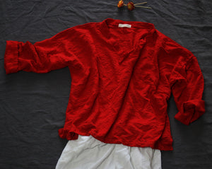 Chinese Style Long-sleeved V-Neck Loose Cotton and Linen Shirt with Red Disc Button