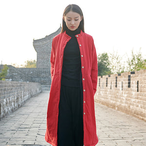 Open image in slideshow, Cotton and Linen Retro Chinese Style Cotton-padded Long Over the Knee Jacket