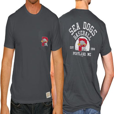 Portland Sea Dogs 2-Sided Pocket Tee - Pepper