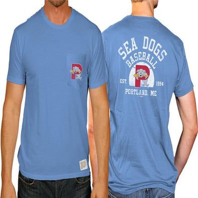 Portland Sea Dogs 2-Sided Pocket Tee - Light Blue
