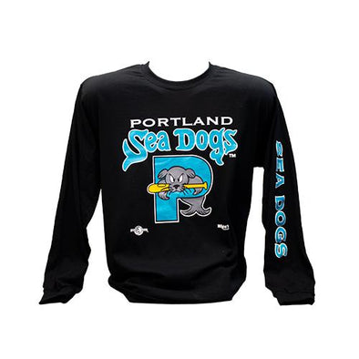 Sea Dogs Retro Teal Logo Long Sleeve Tee - Adult