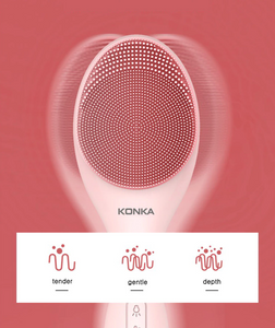 dewyglowy skin care device konka electric silicone facial brush head vibrate 3 levels