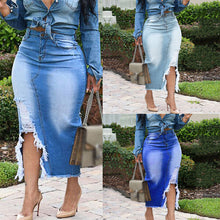 Load image into Gallery viewer, Bag hip slim cut denim mid-length skirt
