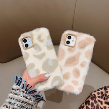 Load image into Gallery viewer, Leopard Print Fluffy Winter Warm Fur Phone Case For iPhone XS Max