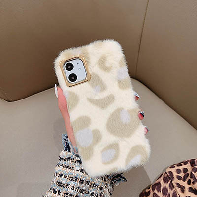 Leopard Print Fluffy Winter Warm Fur Phone Case For iPhone XS Max